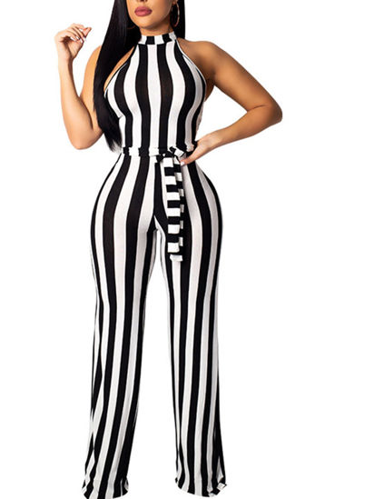 Picture of Women's Jumpsuit Stylish Sleeveless Striped Jumpsuit - M
