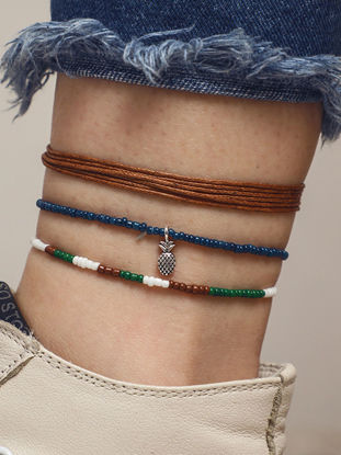 Picture of 3Pcs Women's Anklet Chains Beads Woven Casual Versatile Body Chains Accessory - Resizable