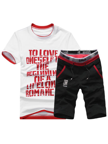 Picture of Men's 2Pcs Sports Set Letters Print Top Drawstring Waist Elastic Patchwork Shorts Set - XXL