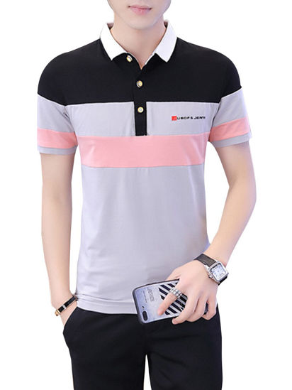 Picture of Men's Polo Shirt Turn Down Collar Colorblock Short Sleeve Top - M