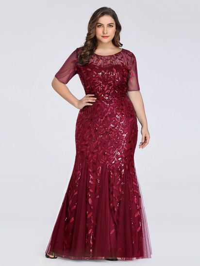 Picture of Ever-Pretty Women's Plus Size Embroidery O Neck Patchwork Wedding Dress - 7XL