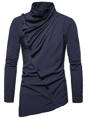 Picture of Men's Shirt Asymmetrical Solid Color Long Sleeve Top - XXL