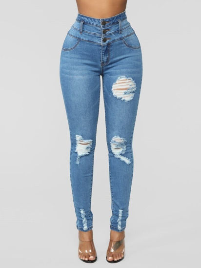 Picture of Women's Jeans Solid Hollow Out High Waist Denim Pants - M