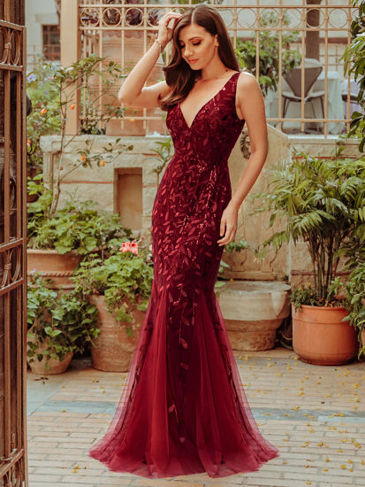 Picture of Ever-Pretty Women's Mermaid Dress Fashion Solid Color Sequins Grenadine Dress - 5XL