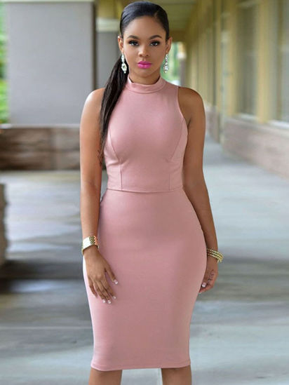 Picture of Women's Bodycon Dress Solid Color Hollow Back Sleeveless Midi Dress - M