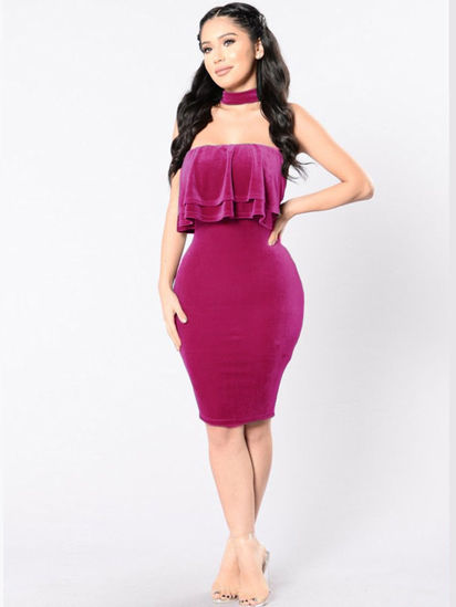 Picture of Women's Pencil Dress Sleeveless Solid Color Slim Dress - M
