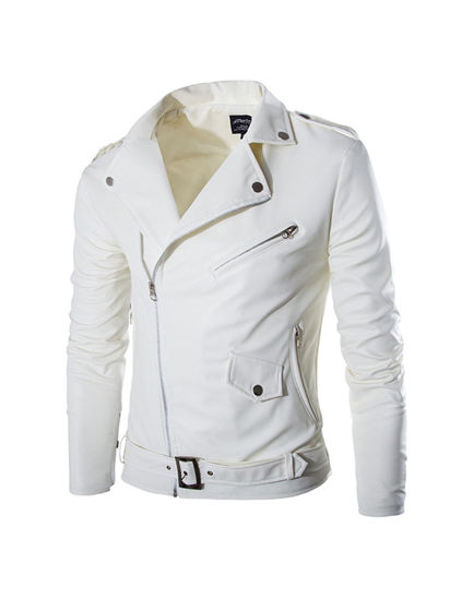 Picture of Men's Jacket Solid Color Zipper Notched Collar Fashion PU Jacket - Size: XL