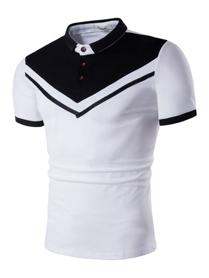 Picture of Men's Polo Shirt Patchwork Color Slim Short Sleeve Polo Shirt - Size: XXL