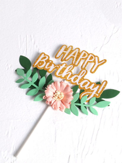 Picture of Birthday Cake Flag Inserting Card Party Dessert Table Decoration Card - Size: One Size