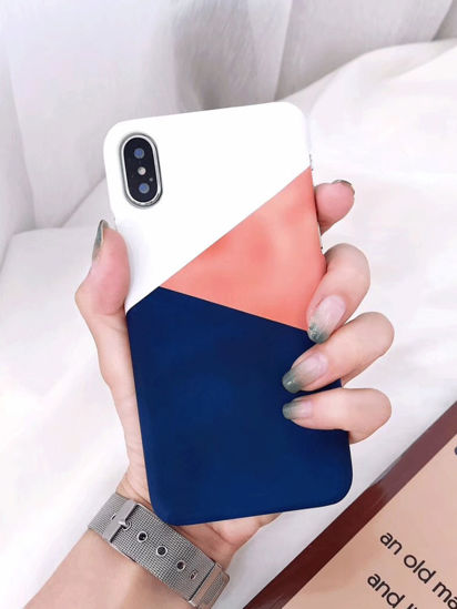 Picture of iPhone 7 Plus Phone Case Simple Color Block Geometry Pattern Phone Cover - Size: IPHONE 7Plus