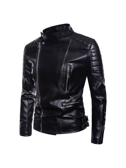 Picture of Men's Synthetic Leather Jacket Plus Size Solid Color Turn Down Collar Fashion Jacket - Size: M