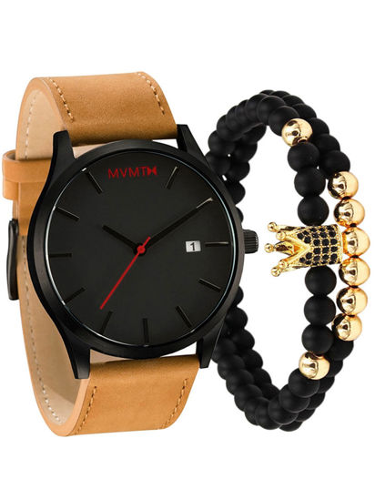 Picture of 3Pcs Men's Fashion Watch Sporty Pointer Display Trendy Watch With A Bracelet Set - Size: One Size