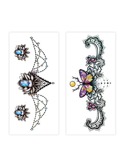 Picture of 2 Pcs Women's Tattoo Stickers Ladylike Waterproof Temporary Tattoo Stickers - Size: One Size