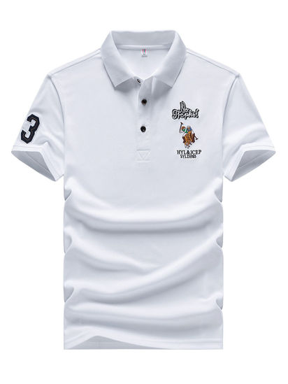 Picture of Men's Polo Shirt Solid Color Number Letter Embroidery Short Sleeve Top - Size: XXL
