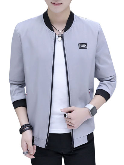 Picture of Men's Casual Jacket Fashion Solid Color Comfy All Match Jacket - Size: XL
