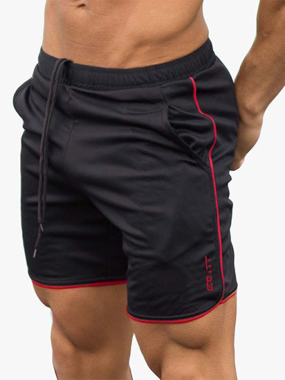 Picture of Men's Sports Shorts Pocket Decor Drawstring Waist Quick Dry Shorts - Size: XL