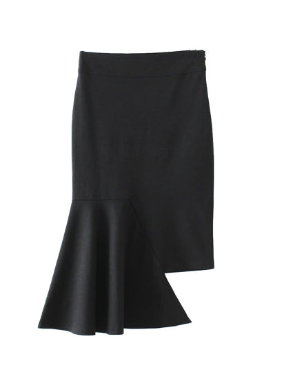 Picture of Women's Mermaid Skirt Side Zipper Asymmetric Solid Bodycon Skirt - S