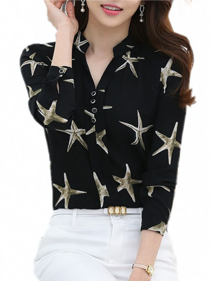 Picture of Women's Blouse V Neck Star Pattern Top - M