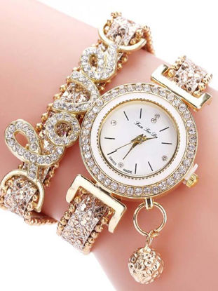 Picture of Women's Bracelet Watch Chic Rhinestone Inlay Double Layers Alloy Watch Accessory - One Size