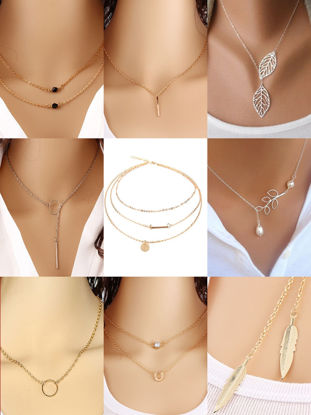 Picture of 9Pcs Women's Fashion Necklaces Simple Exquisite All Match Necklace Accessories - Resizable