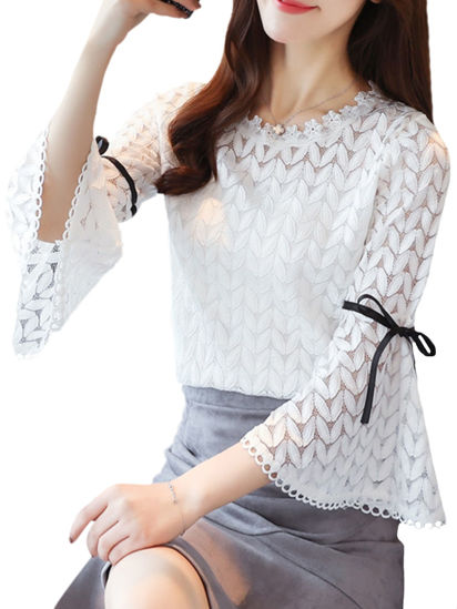 Picture of Women's Blouse Flared Sleeve O Neck Lace Blouse - M