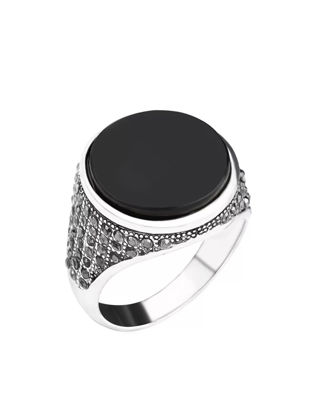 صورة Men's Ring All Match Round Black Gemtone Decor Chic Ring Accessory - 20