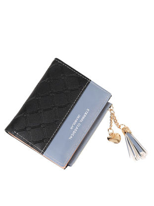 Picture of Women's Purse Fashion Tassel Color Block Casual Wallet - One Size