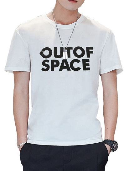 Picture of Men's Casual T-Shirt O Neck Short Sleeve Letter Print Plus Size Simple Top - M