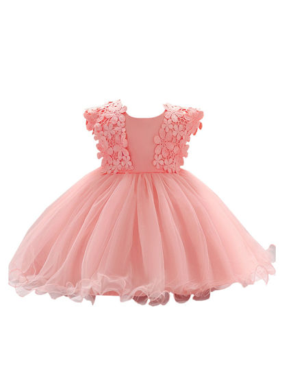 Picture of Girl's Dress Fashion Sweet Lace Floral Bow Design Bubble Skirt - 70cm