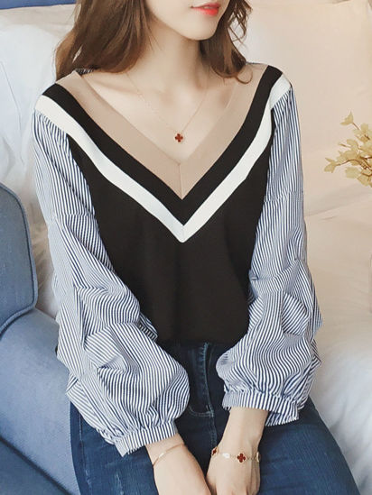 Picture of Women's Blouse V Neck Patchwork Long Sleeve Fashion Top - M