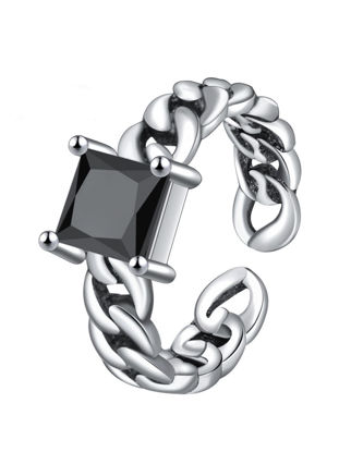 صورة Men's Ring Simple Chic Stone Chain Opening Design Accessory - One Size
