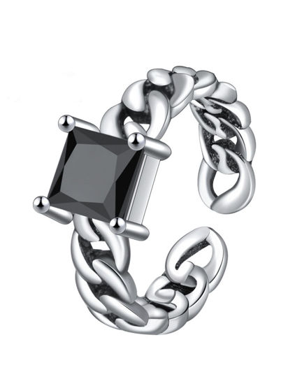 Picture of Men's Ring Simple Chic Stone Chain Opening Design Accessory - One Size