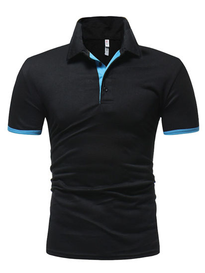 Picture of Men's Simple Short Sleeve Polo Shirt Comfy Casual Turn Down Collar Tee - 3XL