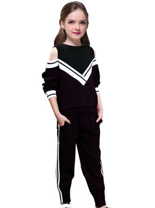 Picture of Girl's 2 Pcs Pants Set Hollow Out Preppy Style Design Suit - Reference Height:160cm