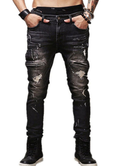 Picture of Men's Jeans Plus Size Frayed Decoration Straight Pipe Mid Waist Jeans - 38