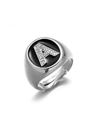 صورة Men's Ring Rhinestone Inlay Letter A Pattern Ring Accessory - Resizable