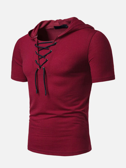 Picture of Men's T Shirt O Neck Short Sleeve Hooded Solid Color Lace Up Top - XXL
