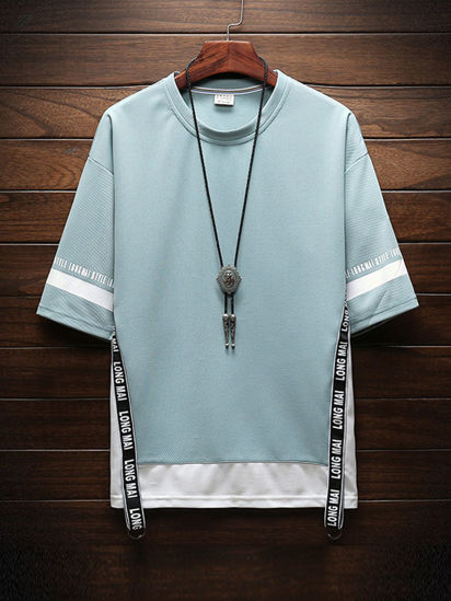 Picture of Men's T Shirt Short Sleeve Bright Color Splice Printed English Top - M