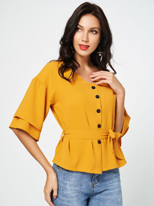 صورة Women's Blouse Solid Color Slim Butten Sash Top - M