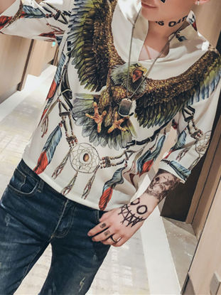Picture of Men's Shirt Half Sleeve Stand Collar V Neck Animal Printed Casual Top - M