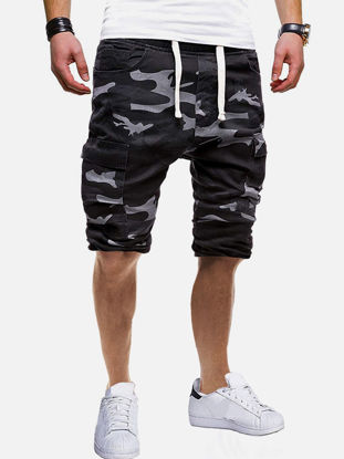 صورة Men's Causal Shorts Drawstring Waist Breathable Camouflage Shorts - XL