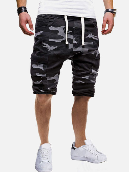 Picture of Men's Causal Shorts Drawstring Waist Breathable Camouflage Shorts - XL