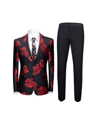 صورة Men's 2Pcs Blazer Suit Long Sleeve Floral Blazer Coat Pants Set - XXL