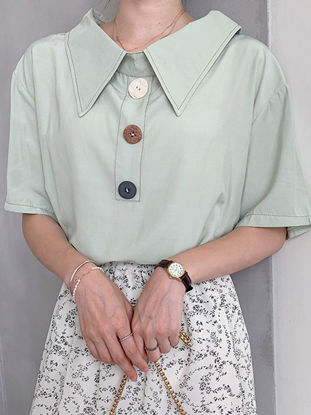 صورة Women's Blouse Half Sleeve Solid Color Button Top - M