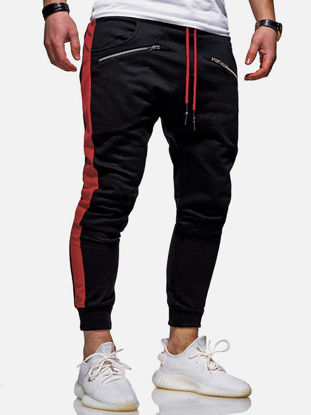 صورة Men's Sport Pants Patchwork Pocket Bandage Trousers - XL