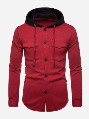 صورة Men's Varsity Jacket Hooded Long Sleeve Solid Color Jacket - XXL