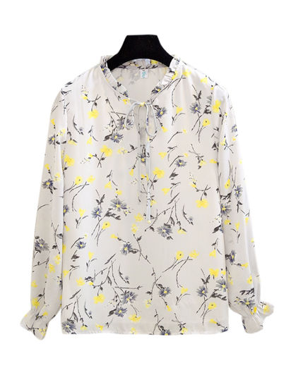 Picture of Women's Plus Size Blouse Loose Floral Print Bow Decor Long Sleeve Top - XXL