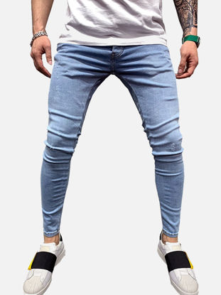 صورة Men's Jeans Solid Color Zipper Pocket Denim Pants - L