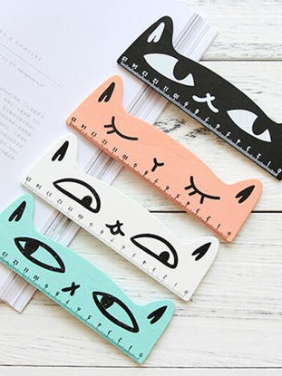 صورة Rulers Kid's 2 Pieces/4 Pieces Wooden Mini 15cm Cute Cat Pattern Student Rulers