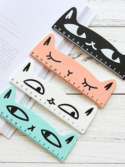 Picture of Rulers Kid's 2 Pieces/4 Pieces Wooden Mini 15cm Cute Cat Pattern Student Rulers